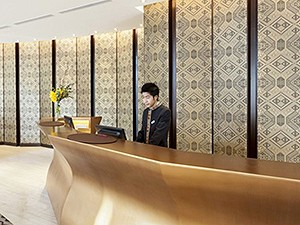 Complex woven silk screens for the reception of the Crowne Plaza Hotel, Vientiane