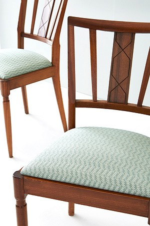 1960 teak dining chairs covered in Ginger 2 - Cotton, silk mix