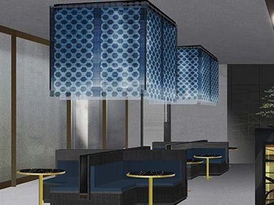 Project for hotel lighting using Ikat design on Rice Paper Silk