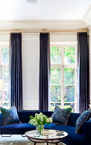 Pillows and curtains specially woven for this Shawn Henderson New York project